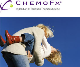 ChemoFX logo and an image of a mother and her child